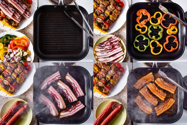 Жареный перец шашлык из бекона и сырой свинины, готовый к приготовлению на грилешашлык на грилеколлаж из фотографий набора