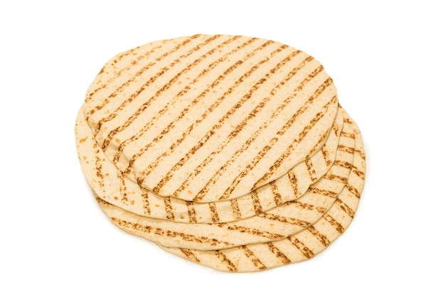 Grilled pitta bread isolated on white background. top view.