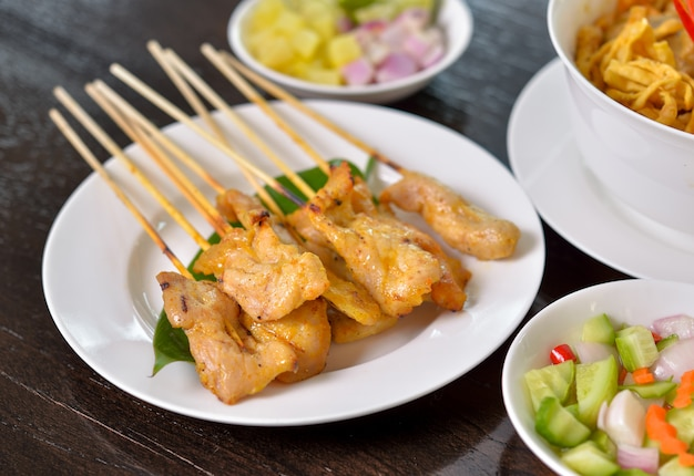 Grilled pork satay. thai food.
