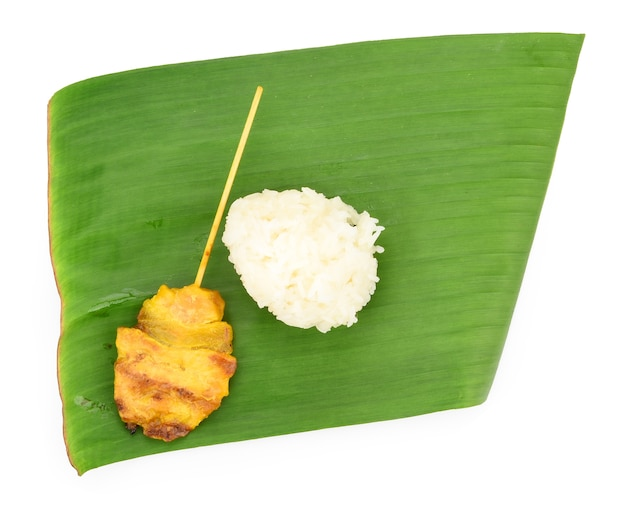 Grilled pork with sticky rice, thai food