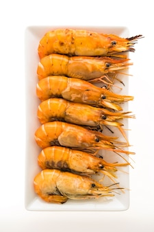 Grilled prawn and shrimp in white plate