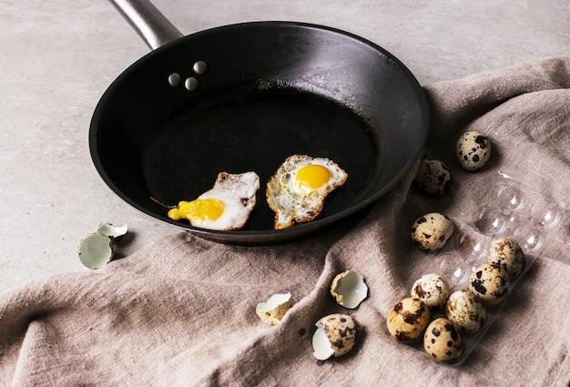 Grilled quail eggs
