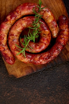 Grilled  or roasted spiral pork sausages