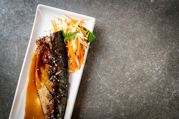 Grilled saba fish steak with teriyaki sauce