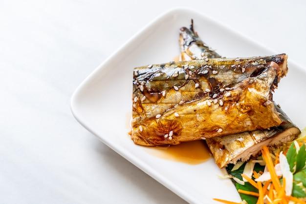 Grilled saba fish steak with teriyaki sauce