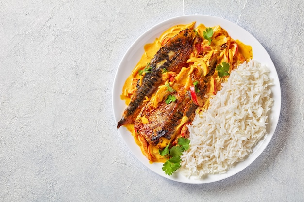 Grilled saba yellow curry, panang curry with mackerel fish served with steamed long grain rice on a plate on a concrete table  view from above, flatlay, free space
