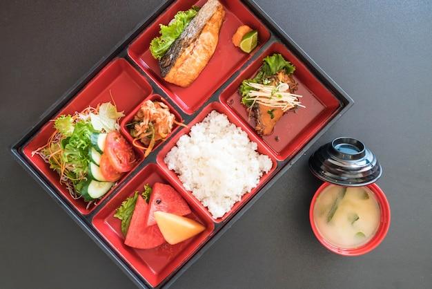 Grilled salmon bento set