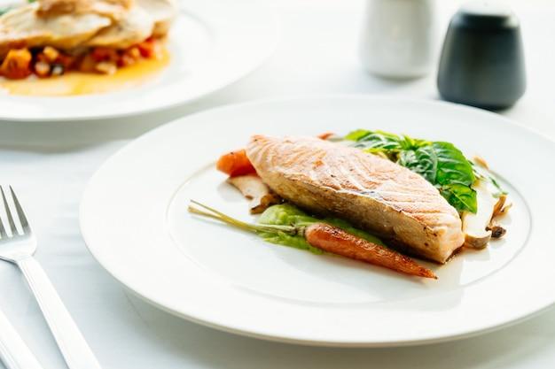 Grilled salmon meat fillet steak