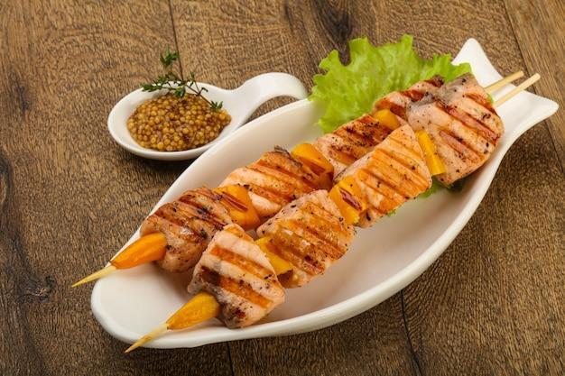 Grilled salmon skewer