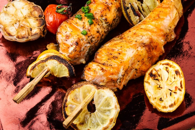 Grilled salmon on skewer