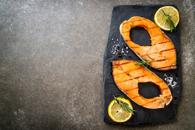 Grilled salmon steak fillet
