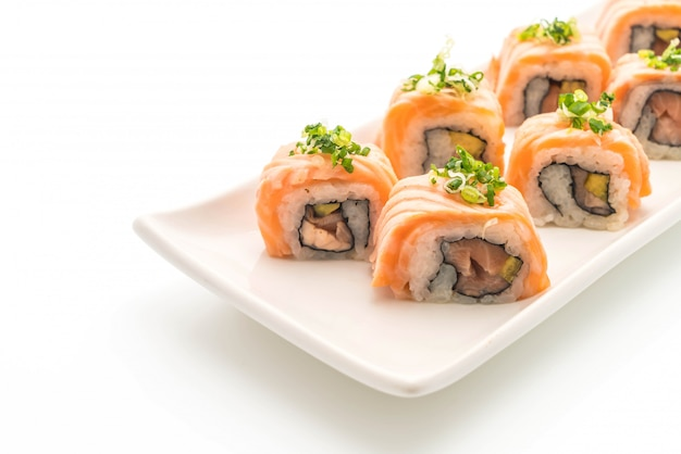 Grilled salmon sushi roll - japanese food style