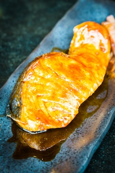 Grilled salmon with teriyaki sweet sauce