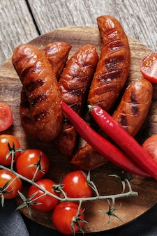 Grilled sausage and vegetables