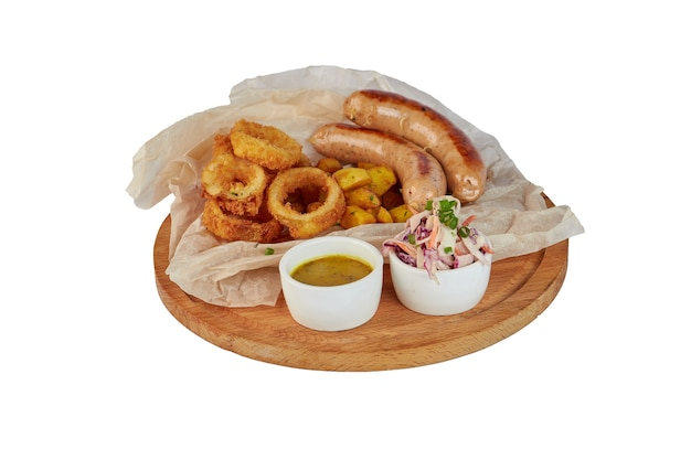 Grilled sausage with potatoes fries and bell peppers, ketchup, on white plate, isolated on white