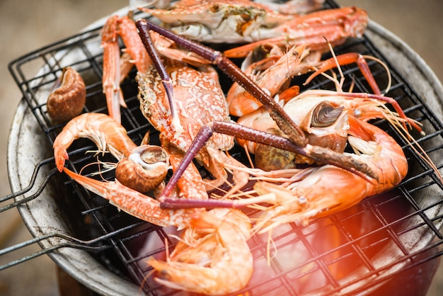 Grilled seafood on stove