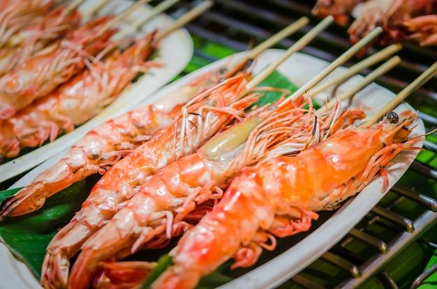 Grilled shrimp wooden skewer