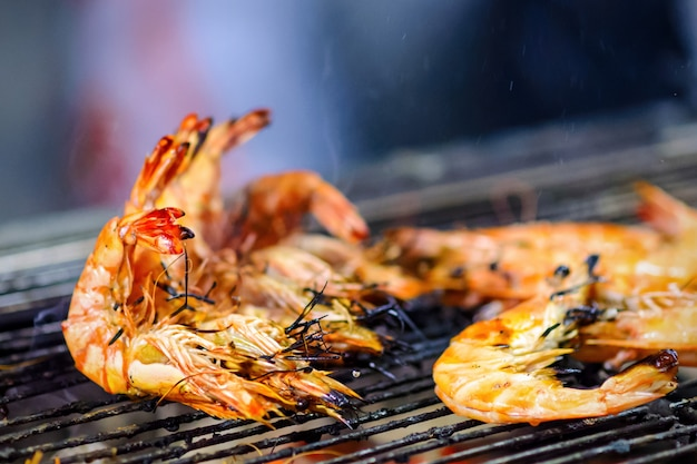 Grilled shrimps on hot coals for a barbecue