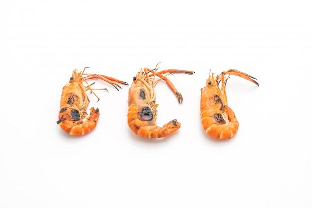 Grilled shrimps on white background