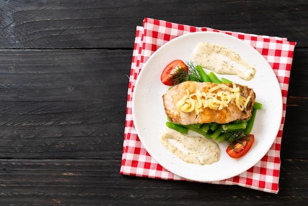 Grilled snapper fish steak