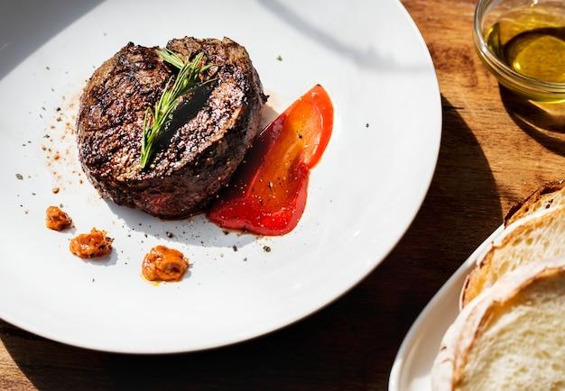 Grilled steak food