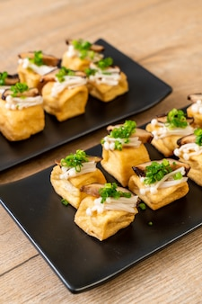 Grilled tofu with shitake mushroom and golden needle mushroom