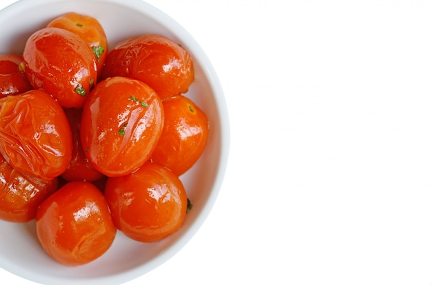 Grilled tomato in bowl ,top view