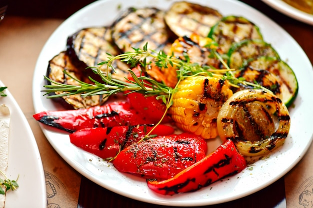 Grilled vegetables. an ecologtic product. fried peppers, fried eggplant.