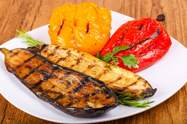 Grilled vegetables - eggplant, zucchini and pepper