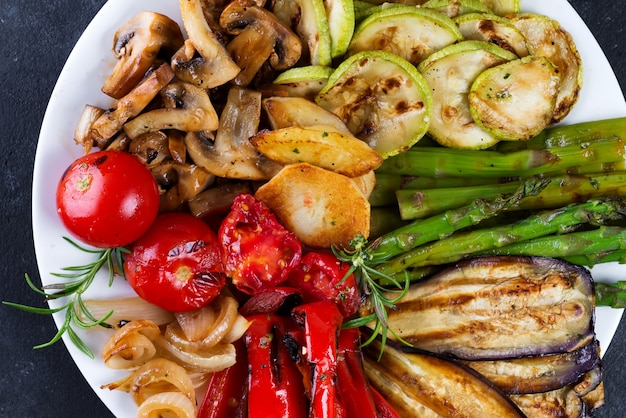 Grilled vegetables on a plate close up