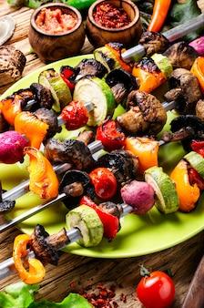 Grilled vegetables skewers kebab