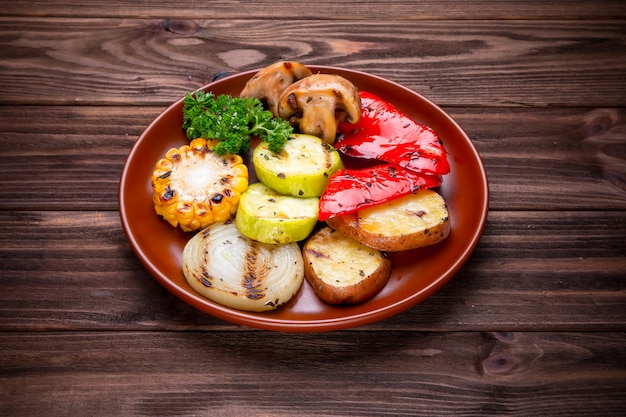 Grilled vegetables with spices and seasoning