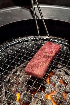 Grilled wagyu sirloin meat yakiniku