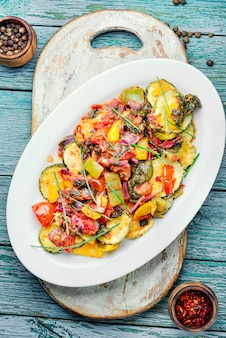 Grilled zucchini in greek