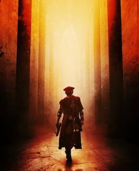 Мрачная выжившая после апокалипсиса женщина с самодельным оружием идет по заброшенному зданию. свет сверху