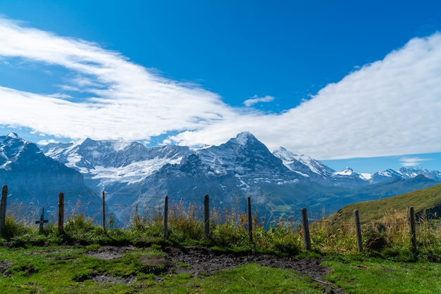 スイスのアルプス山とグリンデルヴァルトの村