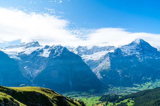 Grindelwald village with alps mountain in switzerland