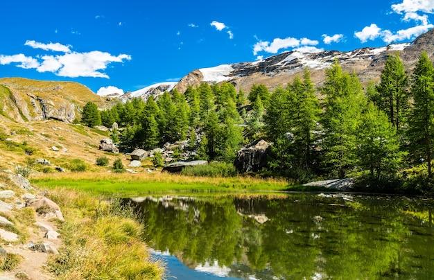 Grindjisee lake near zermatt in switzerland
