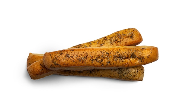 Grissini on a white background. fresh breadsticks. high quality photo