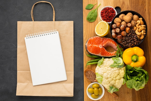 Groceries on cutting board with copy space