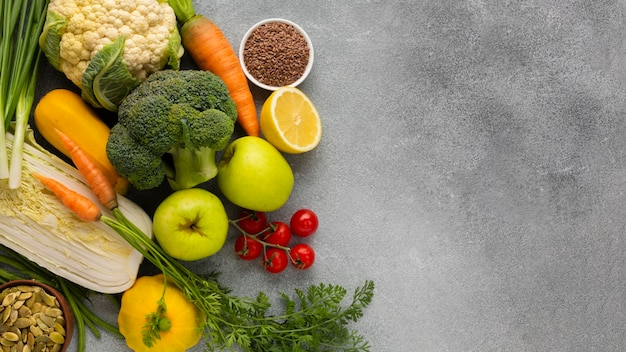 Groceries on gray slate background
