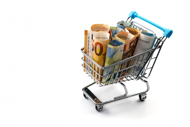 Grocery cart with euro bills isolated on white. shopping, loan, money saving, pension, investments concept