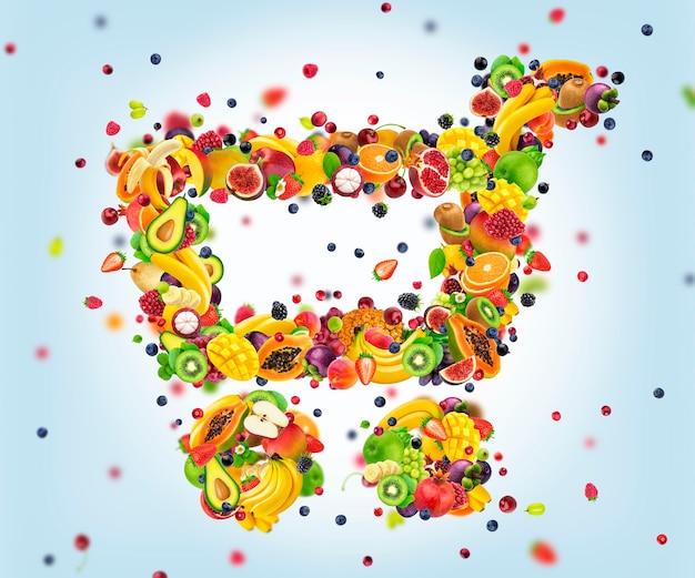 Продуктовая тележка из свежих падающих фруктов и ягод, покупка здоровой пищи, иконка продуктовой тележки на белом фоне, креативная концепция