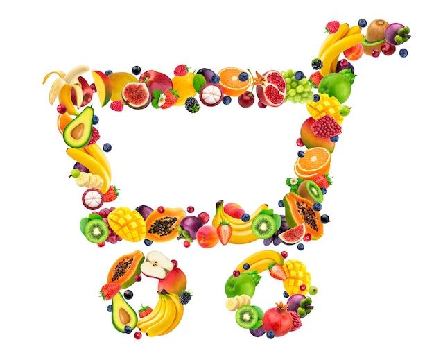 Продуктовая тележка из свежих падающих фруктов и ягод на белом фоне