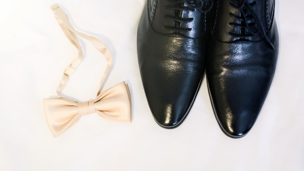 Groom accessories preparation for wedding concept.