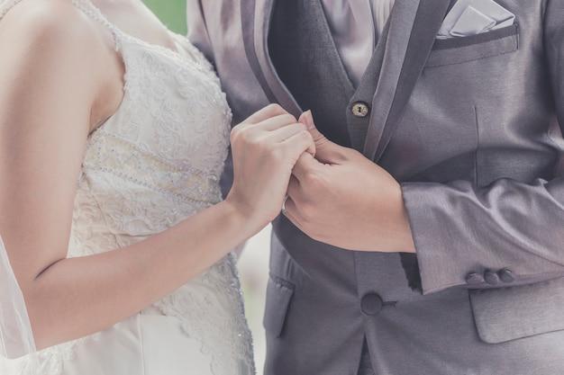 신랑과 신부가 함께. 결혼식 한 쌍