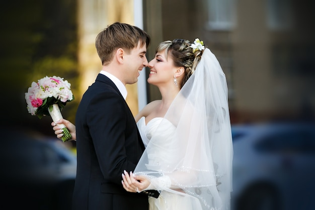 Groom and bride in their wedding day