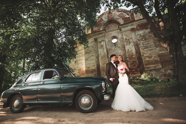Groom and the bride traveling on her honeymoon road trips