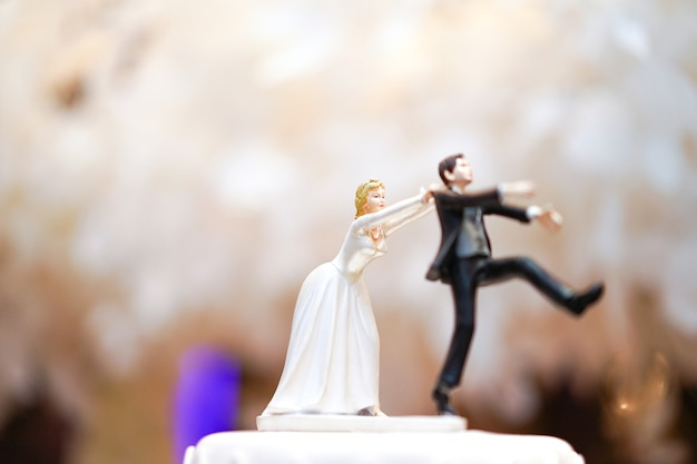 花婿の人形と銅像が逃げ出しているが、花嫁はついに彼を捕まえることができる。ケーキの上に面白い結婚式の物語の人形。