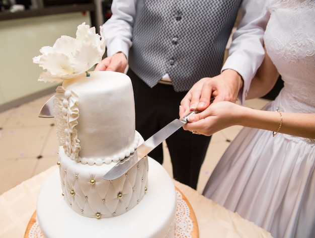 Groom holds bride hand to cut a cake